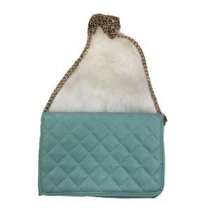 Mint Green Quilted Cross body Purse Gold